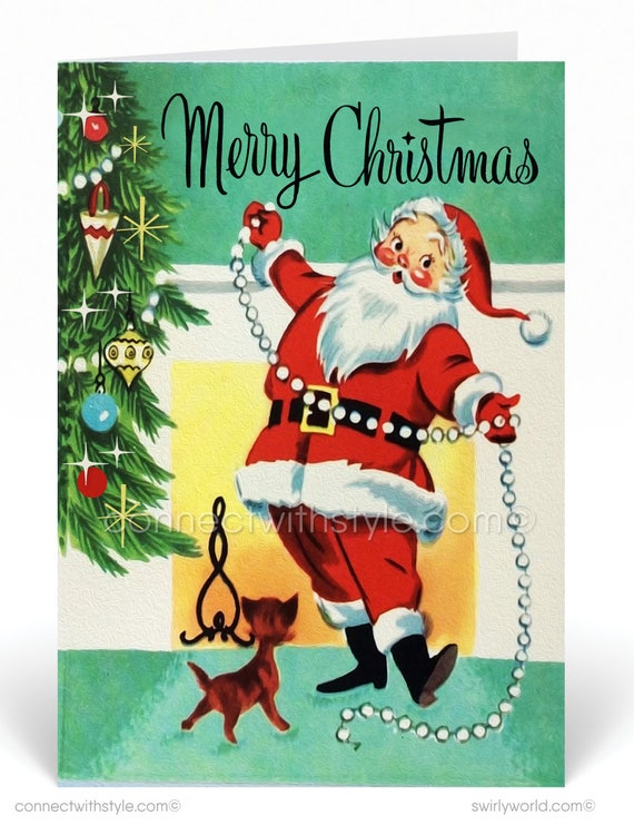 Retro 1950s Vintage Christmas Cards, Printed 1950s Vintage Santa Claus  Holiday Cards, Retro 50s Christmas, Vintage Christmas Cards , 37537