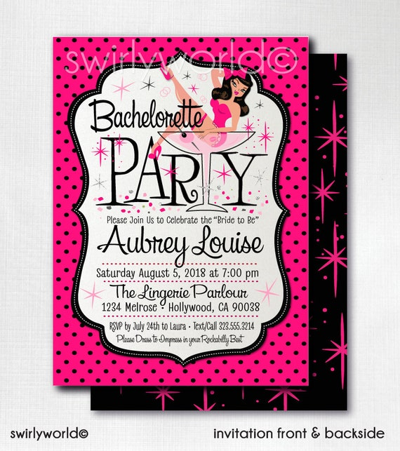 daa8c80ee Digital Rockabilly Pinup Girl Bachelorette Party Invitations