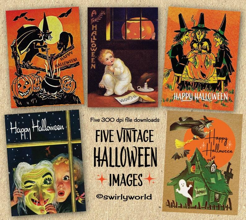 DIGITAL Vintage Halloween Card Bundle. 1920\u0027s Style Witch Halloween  Designs. Retro Halloween Witch Cards. Vintage Children Halloween Cards