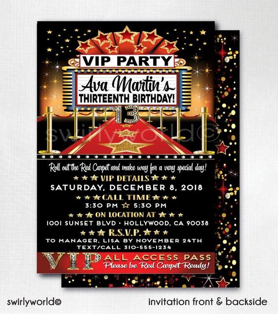 Hollywood Red Carpet Birthday Invitations VIP