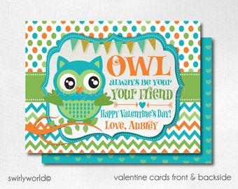 Retro Owl Valentine Cards, Digital Printable Owl Valentine Cards, Digital Valentine Cards, Digital Printable Owl Valentines, DIVAL