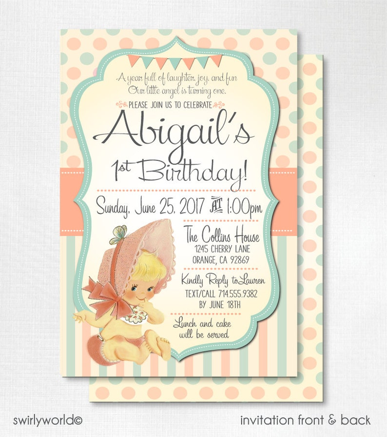 Digital Vintage 1st Birthday Invitations Retro 1950s First