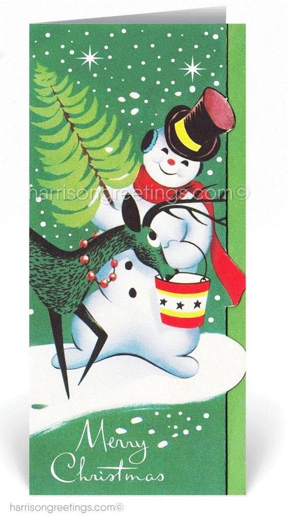 Retro 1950s Vintage Retro Christmas Cards Printed 1950s | Etsy