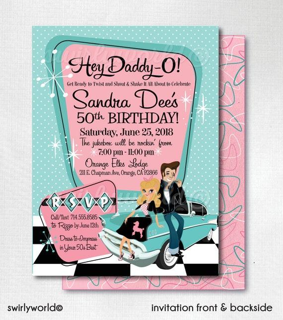 Retro 1950s Birthday Party 50s Rockabilly Invites Grease Etsy