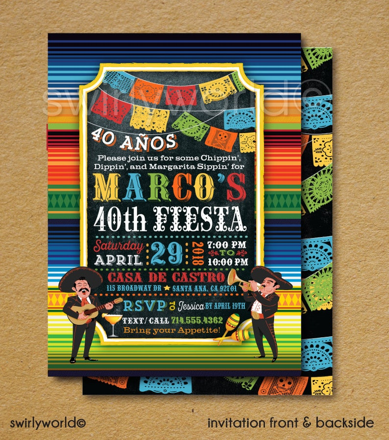 Digital Fiesta 40th Birthday Invitations Paper Flags