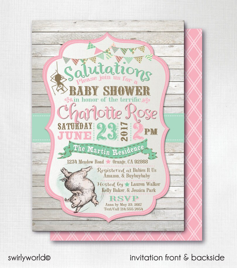 Digital Charlotte's Web Baby Shower Invitations Vintage