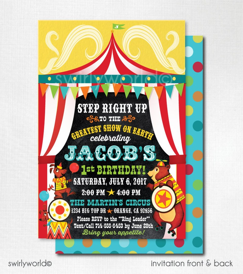 Vintage Circus Birthday Invitations Printed Carnival