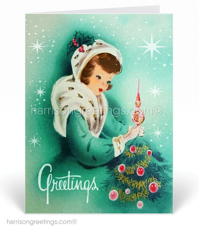 Vintage Christmas Cards Printed 1950s Holiday Cards Retro Etsy
