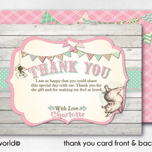 Printed Charlotte/'s Web Thank You Cards 1st Birthday Thank You Notes CORJL Charlotte/'s Web Thank You Cards Charlotte/'s Web Theme Party