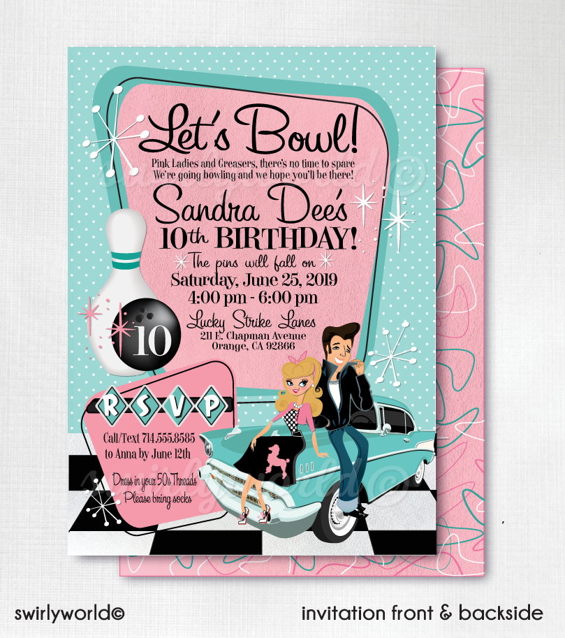 Grease Pink Ladies Bowling Party 50s Rockabilly Invites