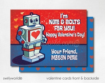 Boys Valentine's Day Cards, Retro Robot Valentine Cards, Boys Printed Valentine Card, Classroom Valentine Cards for Kids,  DI-VAL15FC