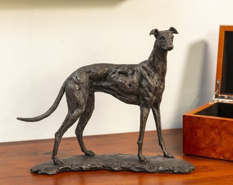 Standing Greyhound Dog Statue | Small Bronze Ornament | Bronze Resin Sculpture | Greyhound Animal Gift, by Tanya Russell MRBS