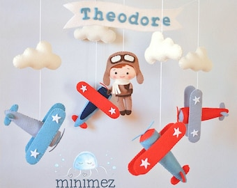 Airplane baby mobile with pilot, Nursery mobile, Crib Cot mobile, Baby mobile boy, Baby shower gift, Airplane nursery, Travel nursery