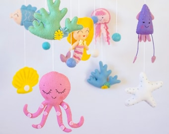 Mermaid baby mobile Nautical Nursery mobile Crib Cot mobile Hanging mobile Under the sea creatures Girl nursery decor Baby shower gift Felt