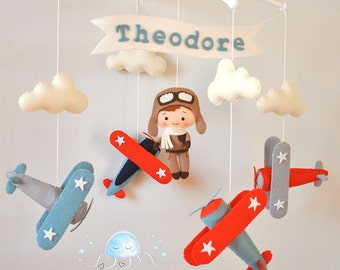 Airplane baby mobile Nursery mobile Cot mobile Crib mobile Felt Pilot Vintage plane Baby mobile boy Airplane nursery decor Baby shower gift
