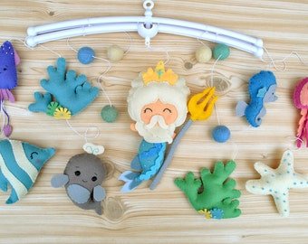 Baby mobile Nautical Nursery mobile Cot mobile Crib mobile Poseidon Mermaid Under the sea creatures Hanging Nursery decor Baby shower gift