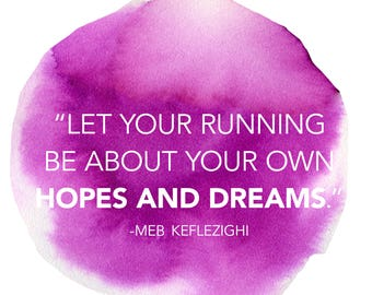 Let Running be about your own hopes and Dreams. Meb Keflezighi Motivational Printable Poster