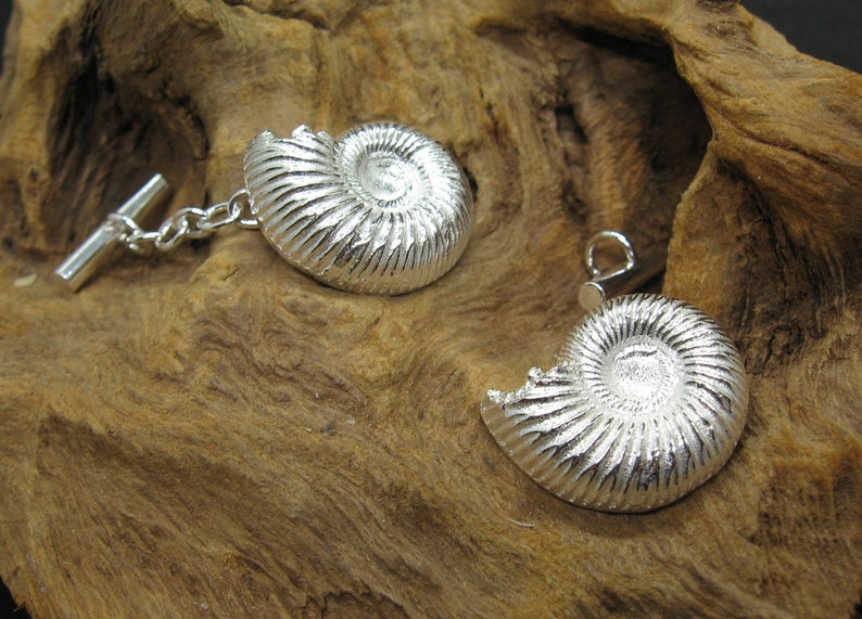 Solid 925 Sterling Silver Handcast Handmade Ammonite Chain Fitment Style Cufflinks Individually hallmarked Unique OOAK.