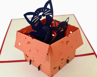 Cats in a box pop-up birthday card