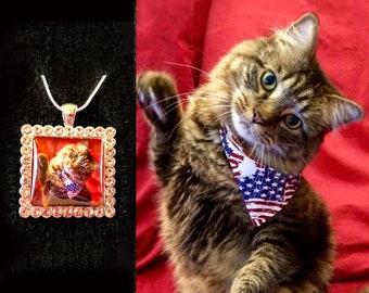 photo necklace - square rhinestone