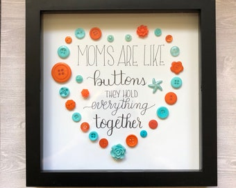 Mothers Day Gift, Mom Gift, Mothers Day, Mom Birthday Gift, Mom Birthday, Daughter Gift, Grandma Gift, Mom Gift from Daughter, Button Art