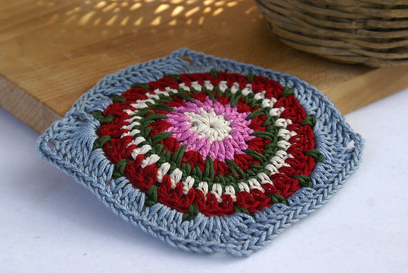 Crochet Christmas Table Coaster Drink Wine Coffee Square Coaster Dinner Festive Decor Kitchen Decor Crochet Doily Christmas Gift For Mom