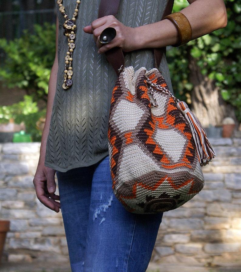 ab9277a3162b0c Mochila Wayuu Crochet Bag Crossbody Bag Orange Beige Unique | Etsy