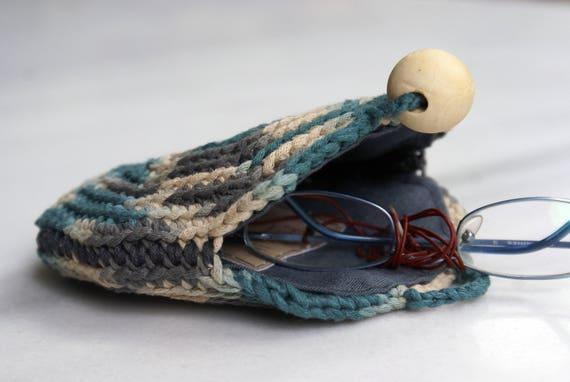 35d0cfcbb1ab Crochet Round Coin Purse Handmade Crochet Wallet Blue Gray Bag