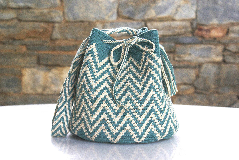 Wayuu Mochila Bag Crochet Bag Large Crossbody Multicolor Boho Tapestry Bag Ethnic Bag Cotton Shoulder Bag Brown Crocheted Carry On Woman Bag