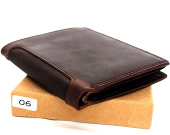 Genuine Leather men's vintage wallet Trifold Card Holder luxury multi cards coin