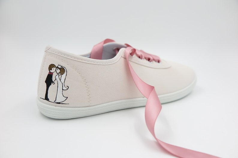 The Wedding Shoes for Brides Bridal sneakers Flats Ready to Ship Shoes for a Bride Standard Width Maid of honor gift Classic Model