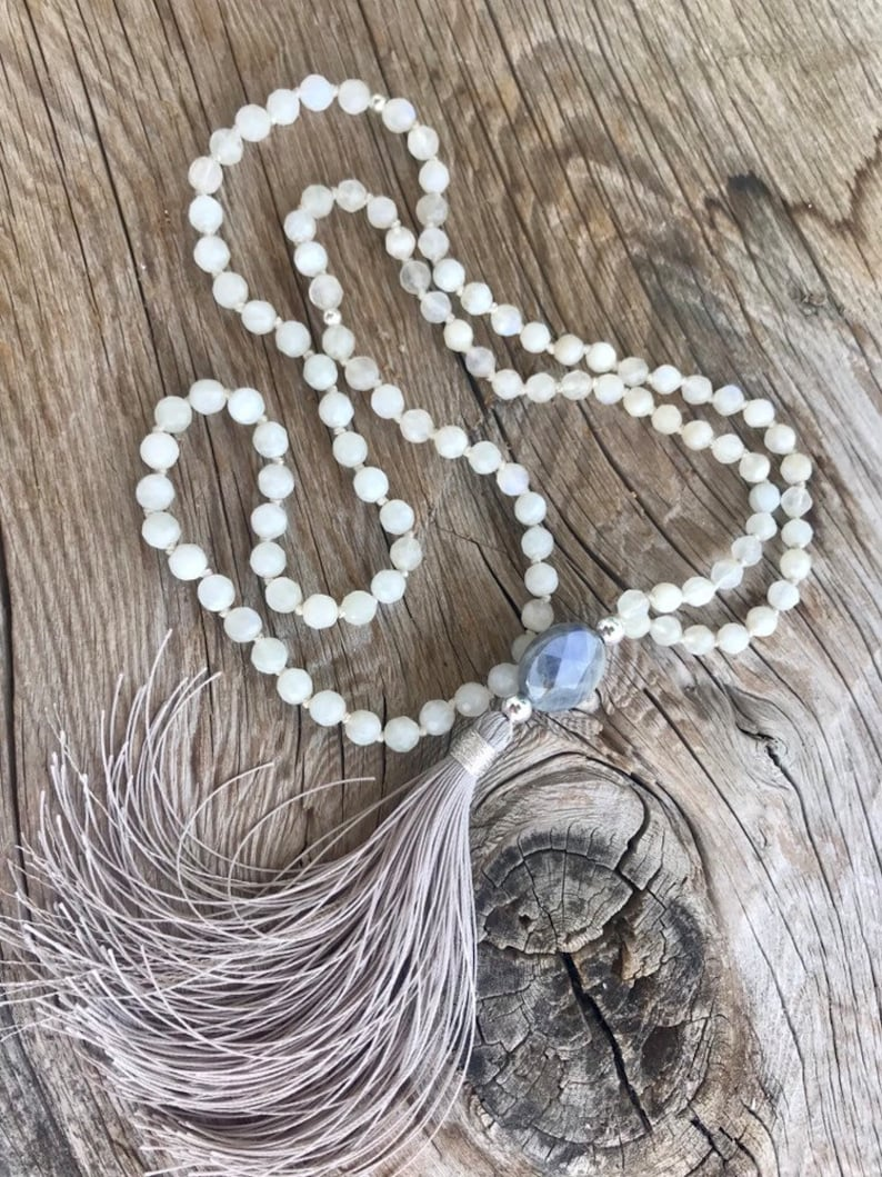A grade flashy Labradorite guru bead,Mala Necklace 108 White faceted 6 mm Moonstone Vegan mala. Handmade Tassel