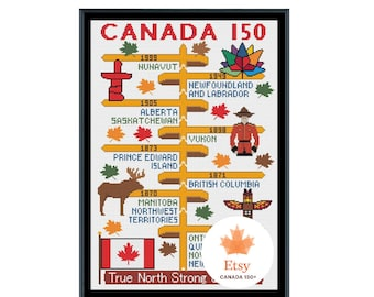 Canada 150 Years Timeline Cross Stitch Pattern