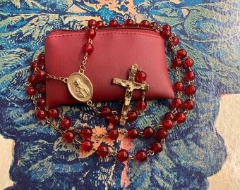 Vintage Red Beaded Cross Crucifix Rosary