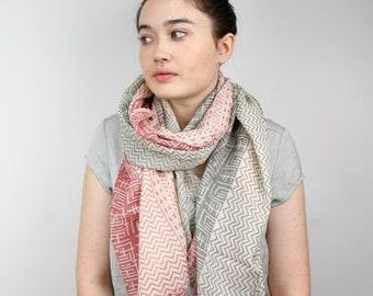 Scarf - Pink, Gray Zig-Zag Print, Wool-Cotton Scarf, Free Shipping, 50625