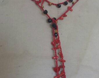 Long Crochet necklace pattern scarf