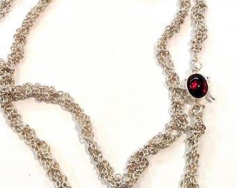 Crochet Sterling Chain Necklace/Bracelet With Garnet Clasp