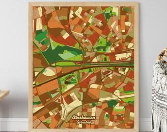 Kunstdruck Plan Map Weiß Oberhausen JUNIWORDS Stadtposter