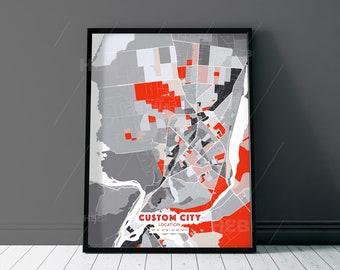 EXPRESSIVE City Map - Custom Colourful Art - High Quality Print