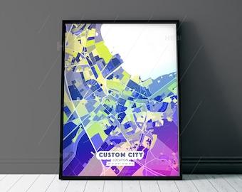 PINK PURPLE City Map - Custom Colourful Art - High Quality Print