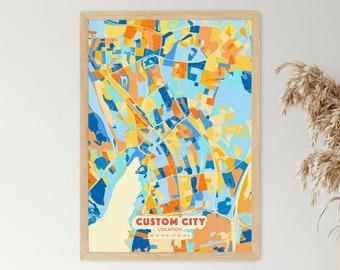 BEACH TONES City Map - Custom Colourful Art - High Quality Print