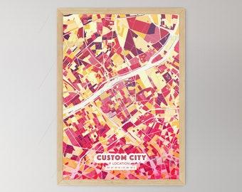 HOT RED City Map - Custom Colourful Art - High Quality Print