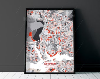ABIDJAN IVORY COAST Grey and Red Fine Art Map Print, Abidjan Creative Hometown, Perfect Christmas gift.