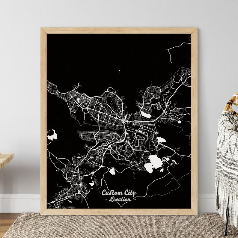 Custom Dark Map Poster with Custom City Name and Country image 0