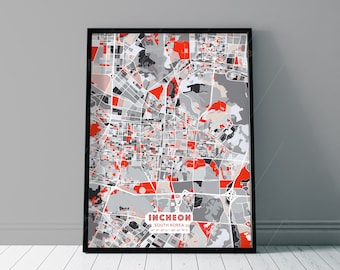 INCHEON SOUTH KOREA Grey and Red Fine Art Map Print, Incheon Creative Hometown, Perfect Christmas gift.