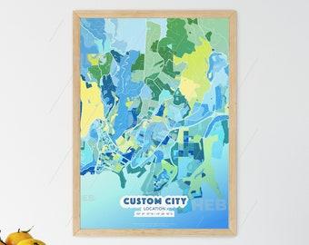 COOL BLUE City Map - Custom Colourful Art - High Quality Print