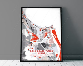 GOLD COAST–Tweed Heads Australia Grey and Red Fine Art Map Print, Gold Coast–Tweed Heads Creative Hometown, Perfect Christmas gift.