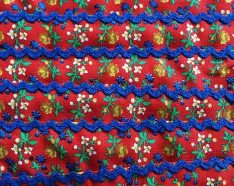 """8 Yard - Vintage 80's 7/8"""" Red & Blue Floral Cotton Fabric Ribbon Trim with Blue Rick Rack Accent"""