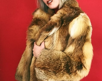 fde86860b73 70s genuine red fox fur coat by Evans. luxury fur coat size S-M. excellent  condition. vintage fur coat. red orange yellow gold brown.