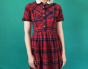 e47de8db660 70s red plaid shirt dress - mini light weight cotton summer dress - button  up style - white contrast collar   buttons- womens XS